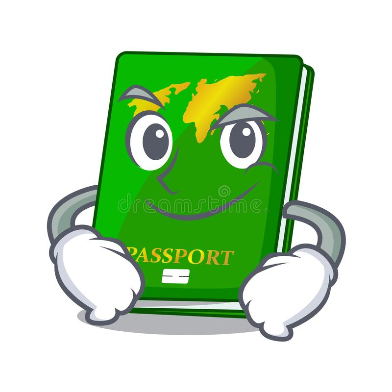 Smirking green passport in the cartoon shape. Vector illustration stock illustration