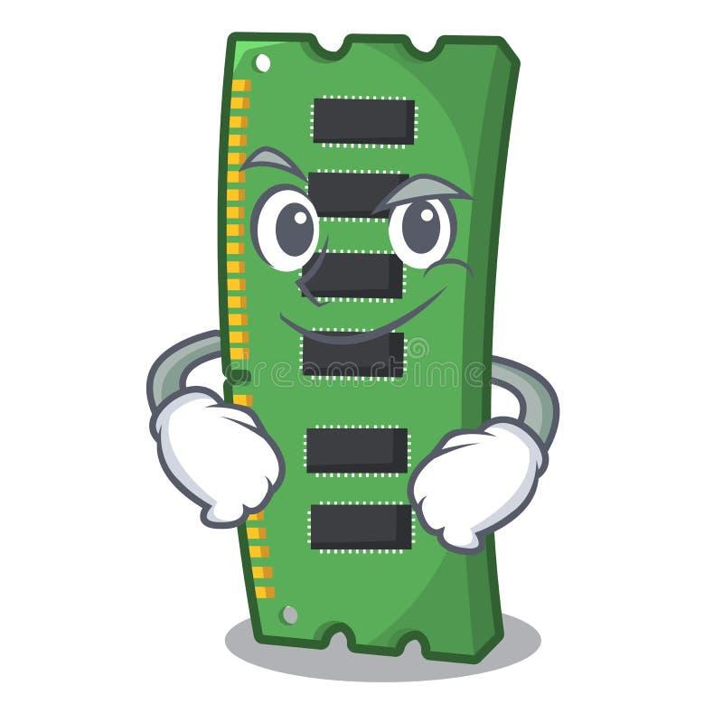 Smirking RAM karta pamięci maskotka kształt ilustracja wektor