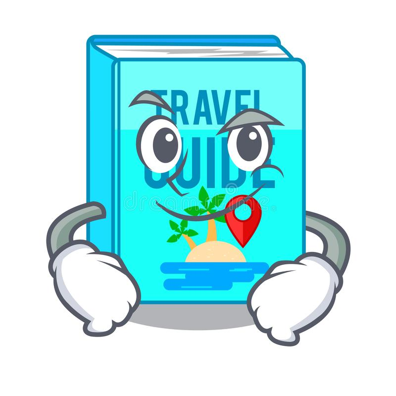 Smirking travel guide book isolated in cartoon vector illustration