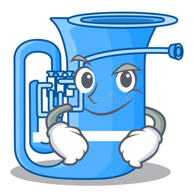 Smirking Tuba lokalisiert mit im Charakter stock abbildung
