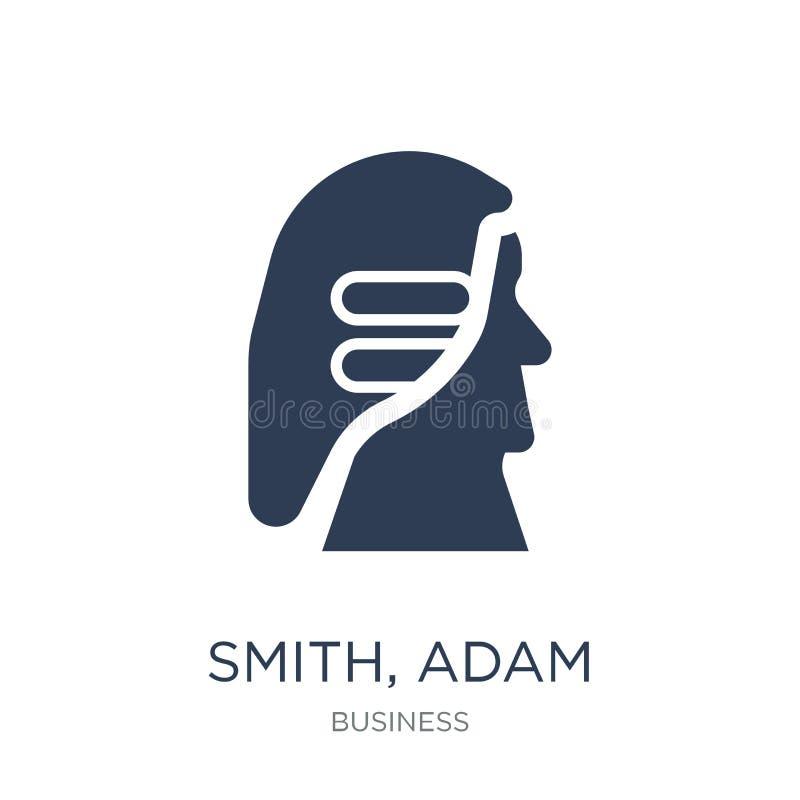 Smith, ícone de Adam Vetor liso na moda Smith, ícone de Adam em b branco ilustração royalty free