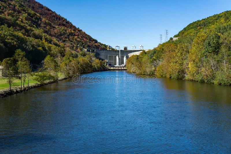 Smith Mountain Dam from Leesville Lake. Bedford County, VA, USA on October 23rd, 2019: A view of Smith Mountain Dam from Leesville Lake located in Bedford County stock photo