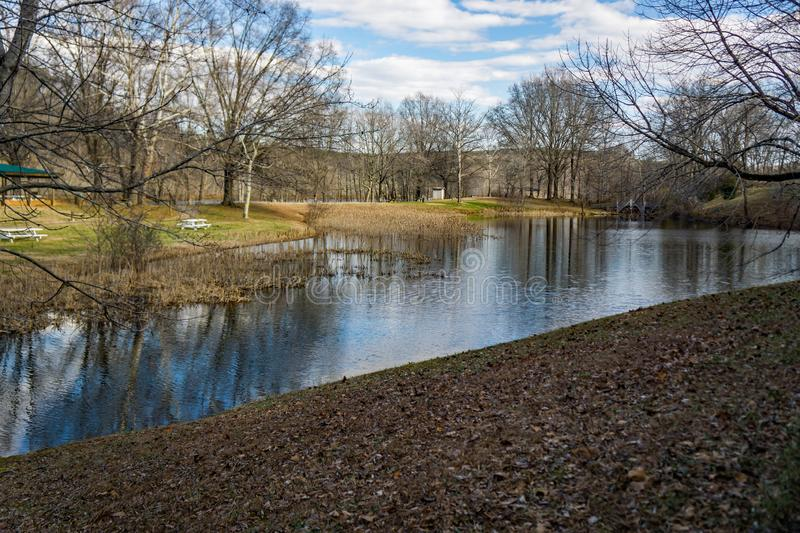 Smith Mountain Dam Picnic Area. Sandy Level, VA – January 8th:Smith Mountain picnic area at the Smith Mountain Hydroelectric Dam located, in Bedford and royalty free stock photos
