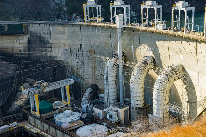 Smith Mountain Hydroelectric Dam Lake. Sandy Level, VA – January 8th:Smith Mountain Hydroelectric Dam located, in Bedford and Pittsylvania Counties royalty free stock photos