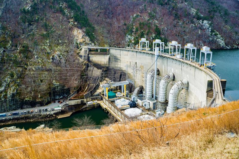 Smith Mountain Hydroelectric Dam. Sandy Level, VA – January 8th: View of Smith Mountain Hydroelectric Dam located, in Bedford and Pittsylvania Counties stock images
