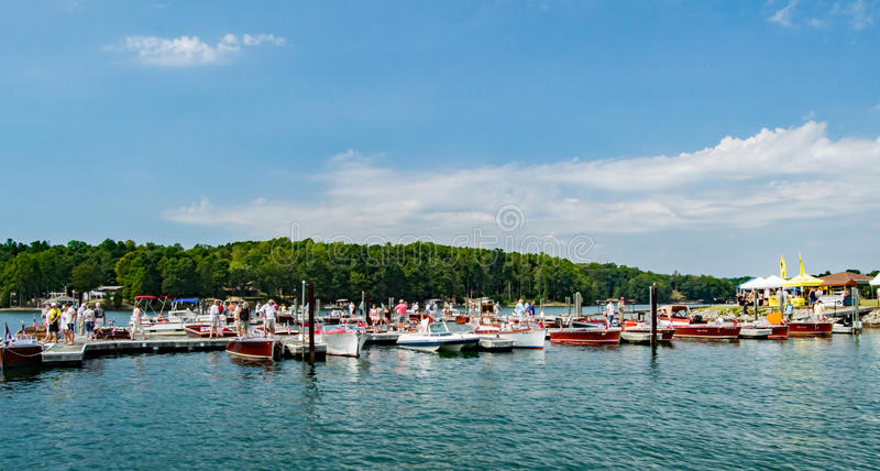 Smith Mountain Lake Antique Classic Boat and Festival 2016. Smith Mountain Lake, VA – September 10th: Antiques and classic boats at the Smith Mountain royalty free stock photography