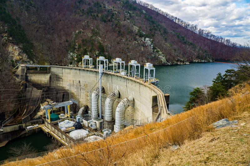 Smith Mountain Lake Hydroelectric Dam. Sandy Level, VA – January 8th: View of Smith Mountain Hydroelectric Dam located, in Bedford and Pittsylvania stock photo