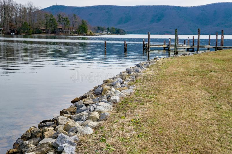 Smith Mountain Lake and Smith Mountain, Virginia, USA. A view of Smith Mountain Lake and Smith Mountain from a marina located in Bedford County, Virginia, USA stock photo