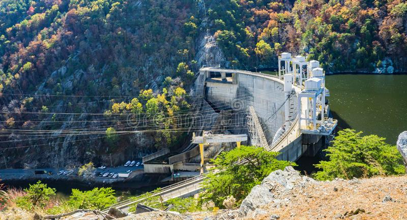 Side View of Smith Mountain Dam. Smith Mountain Lake, VA, USA on October 23rd, 2019: A side view of Smith Mountain Lake Dam on Smith Mountain Lake located in stock image