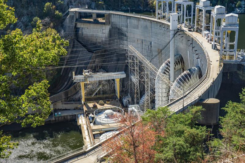 View of Smith Mountain Dam. Smith Mountain Lake, VA, USA on October 23rd, 2019: A side view of Smith Mountain Lake Dam on Smith Mountain Lake located in Bedford royalty free stock image