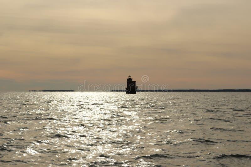 Smith Point Light på Chesapeakefjärden royaltyfri bild