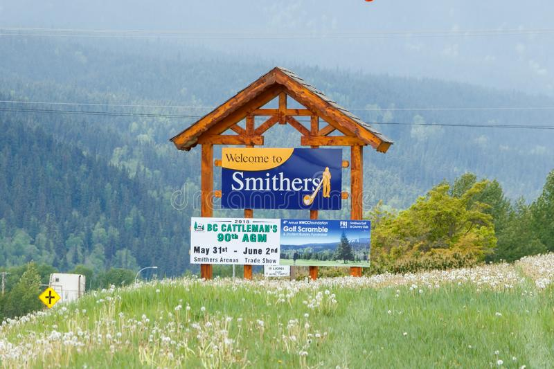 Smithers, Canada - Circa 2018 : Welcome to Smithers Sign. Smithers, Canada - Circa 2018 Welcome to Smithers stock photo