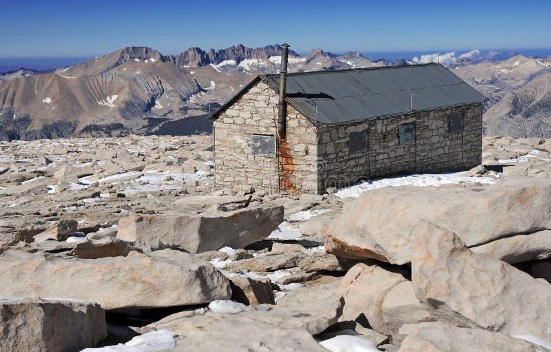 Smithsonian Hut on Summit of Mount Whitney. Sierra Nevada Mountain Range, California royalty free stock images
