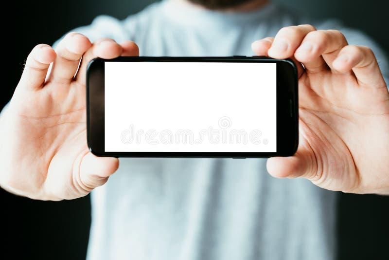 Smm流动社会营销seo空的电话屏幕 免版税库存图片