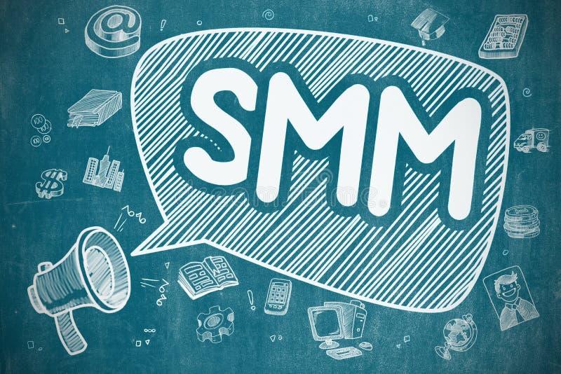 SMM - Συρμένη χέρι απεικόνιση στον μπλε πίνακα κιμωλίας ελεύθερη απεικόνιση δικαιώματος