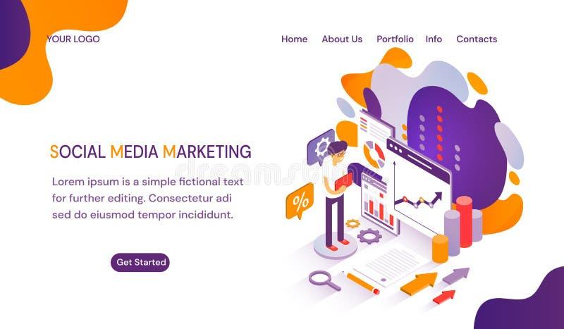 SMM - Социальные средства массовой информации выходя шаблон вышед на рынок на рынок вебсайта с космосом для текста бесплатная иллюстрация
