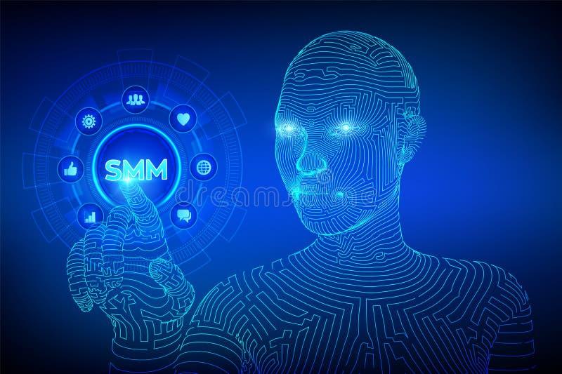 SMM Comercializaci?n social de los media Gustos, comentarios, seguidores e iconos del mensaje en la pantalla virtual Mano del cyb ilustración del vector