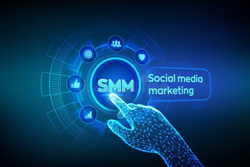 SMM Comercializaci?n social de los media Gustos, comentarios, seguidores e iconos del mensaje en la pantalla virtual Tacto rob?ti libre illustration