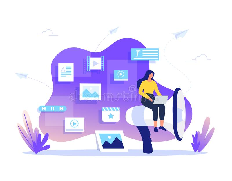 SMM, Content Management and Blogging concept in flat design. Creating, marketing and sharing of digital - vector stock illustration