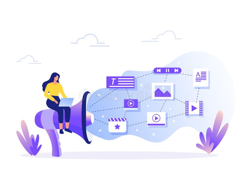 SMM, Content Management and Blogging concept in flat design. Creating, marketing and sharing of digital - vector vector illustration