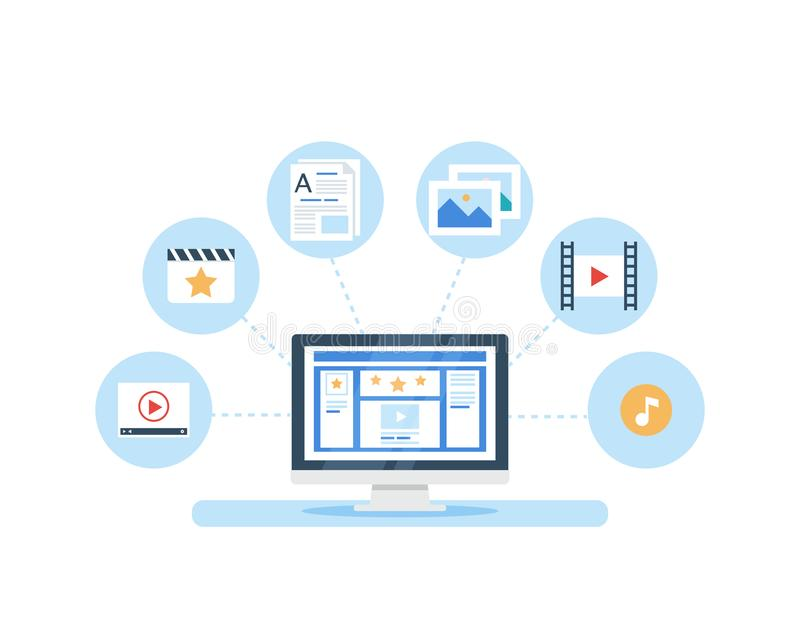 SMM, Content Marketing and Blogging concept in flat design. The social network page filling with content. Articles and media materials uploading process stock illustration