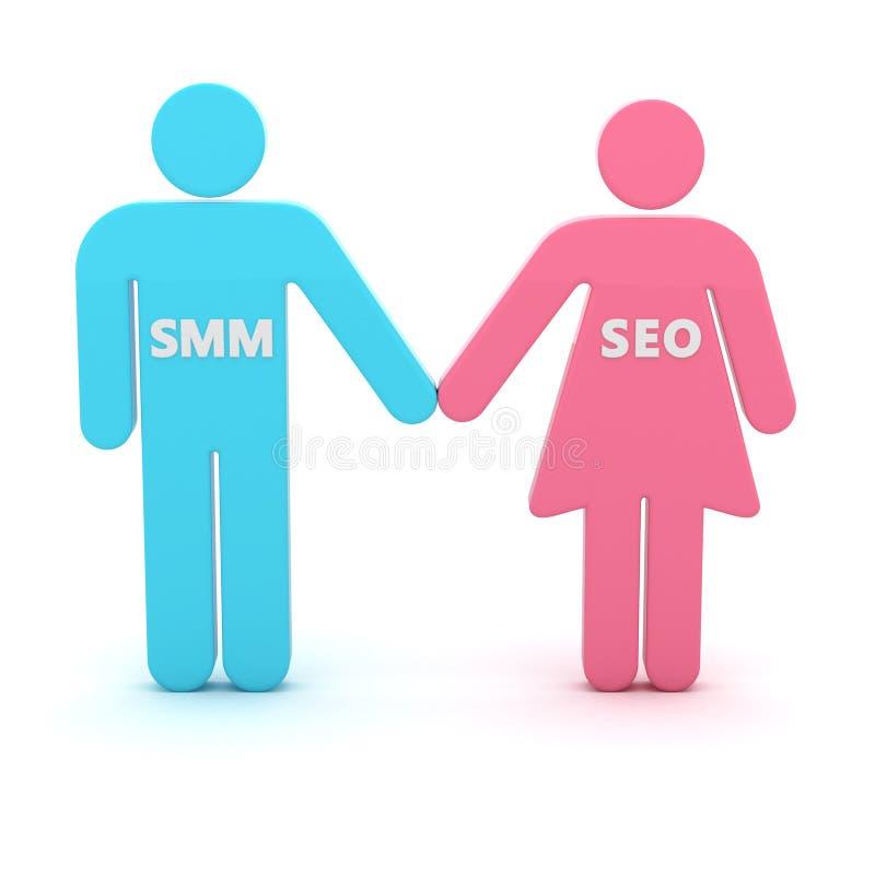 SMM en SEO royalty-vrije illustratie