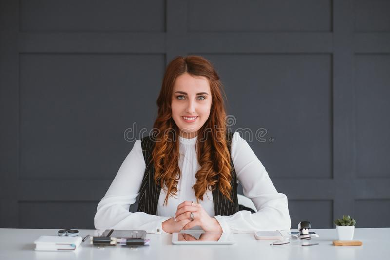 Smm expert work business woman consultation result royalty free stock image
