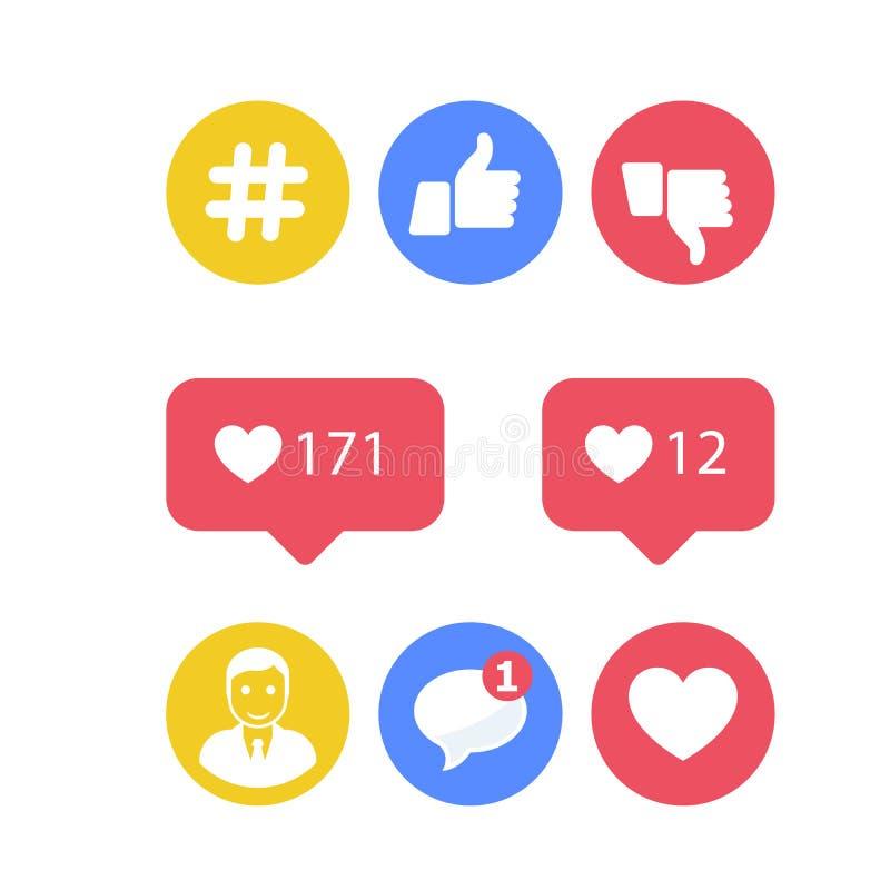 Smm i ogólnospołecznej aktywności ikony - podobieństwa i części, ogólnospołeczne ikony ilustracji