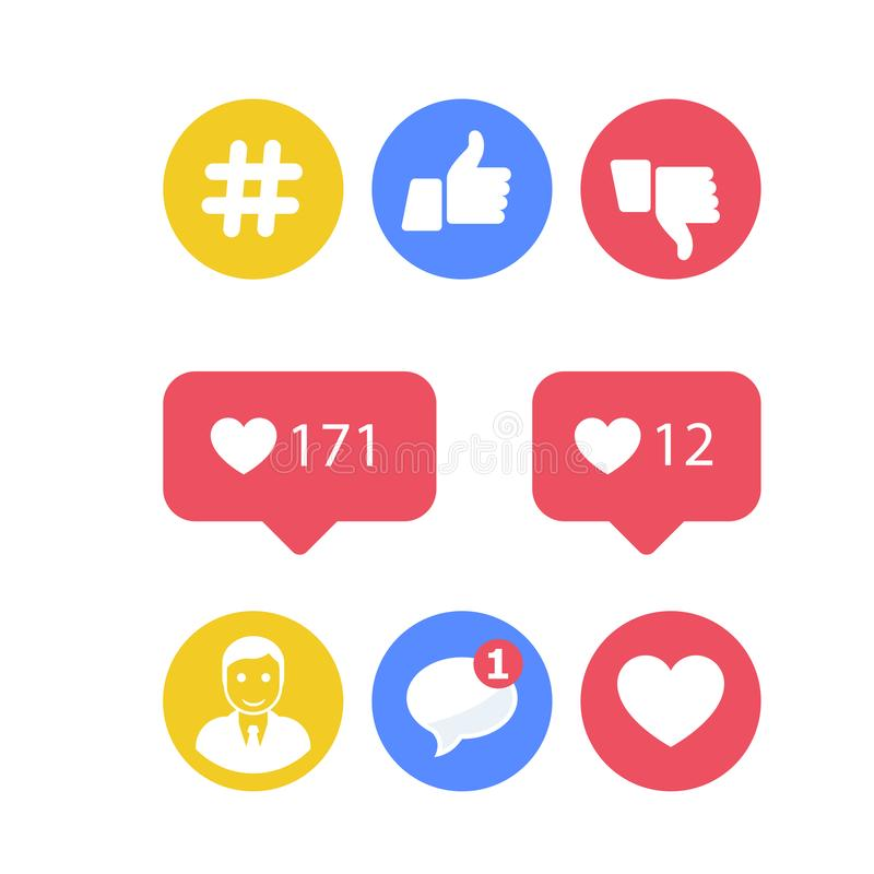 Smm and social activity icons - likes and shares, social icons stock illustration