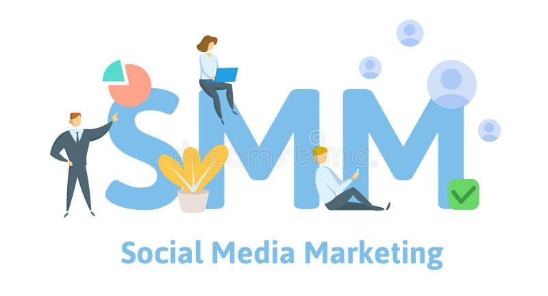 SMM, Social Media, das Technologie vermarktet Konzept mit Schlüsselwörtern, Buchstaben und Ikonen Flache Vektorillustration ein g lizenzfreie abbildung