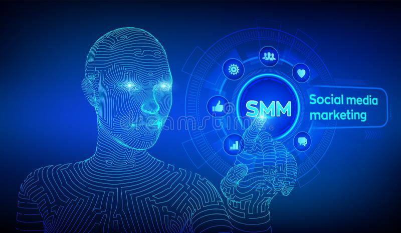 SMM. Social media marketing. Likes, comments, followers and message icons on virtual screen. Wireframed cyborg hand touching. Digital interface. AI. Vector royalty free illustration
