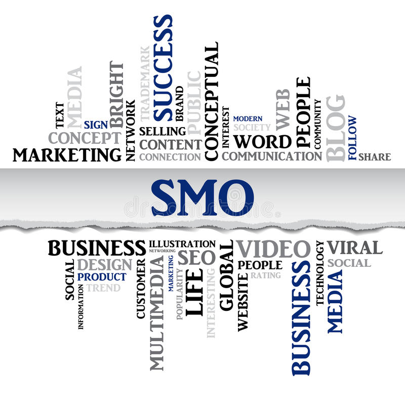 SMO concept related words in tag cloud. Vector. SMO concept related words in tag cloud with different association internet and business terms. The effect of torn royalty free illustration
