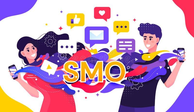 SMO eller socialt massmediaOptimizationbegrepp med två ungdomarsom strömmar data mellan multimediamobila enheter och royaltyfri illustrationer