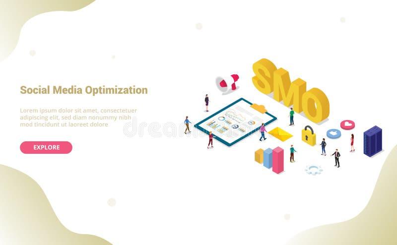 Smo sociaal media optimaliseringsconcept met moderne vlakke isometrische stijl voor websitemalplaatje of landende homepage - vect vector illustratie