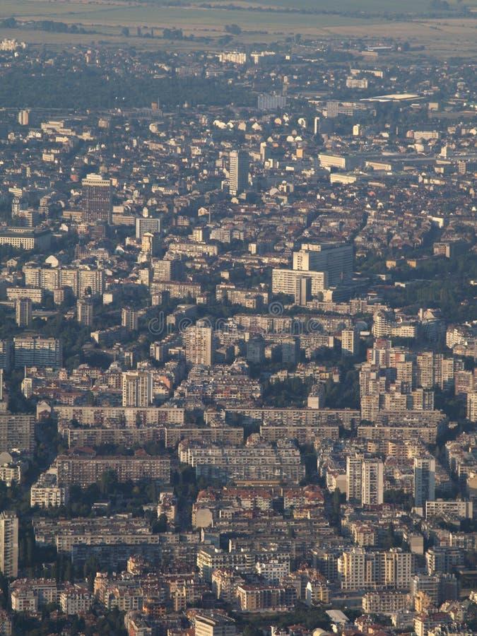Smog über Sofia-Stadt, Bulgarien lizenzfreies stockfoto