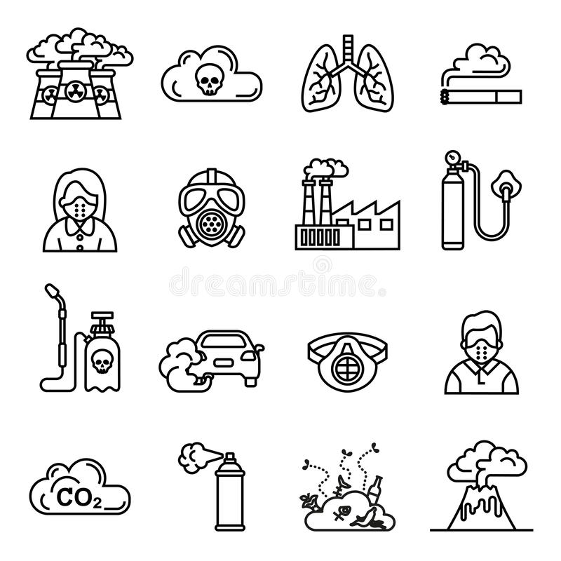 Smog; Air pollution icons set - ecology; environment concept. stock illustration