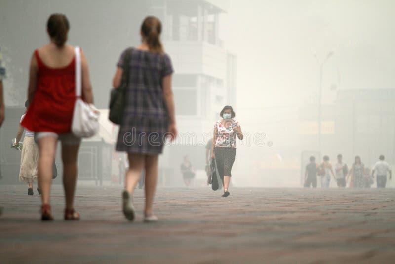 Smog in der Moskau-und Moskau-Region. lizenzfreie stockfotos