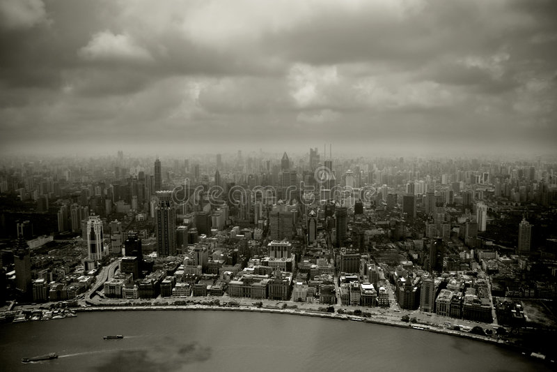 Smog in der Stadt stockfoto