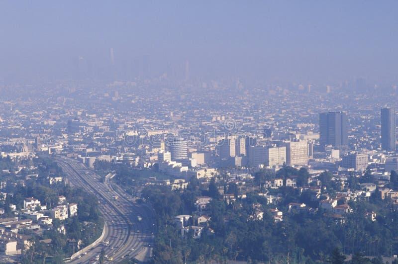Smog die de horizon van Los Angeles verduisteren royalty-vrije stock afbeeldingen