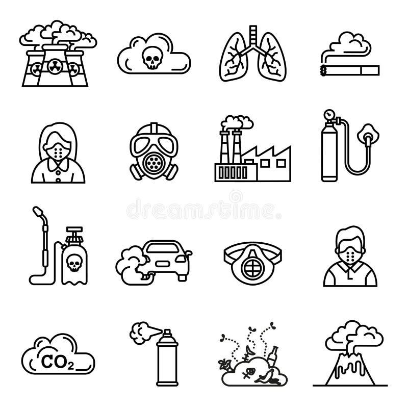 Smog; Le icone di inquinamento atmosferico hanno fissato - l'ecologia; concetto dell'ambiente illustrazione di stock