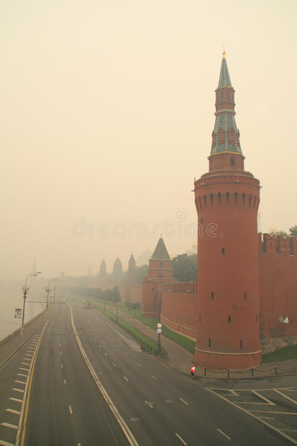 Smog in Moscow -2010 royalty free stock photo