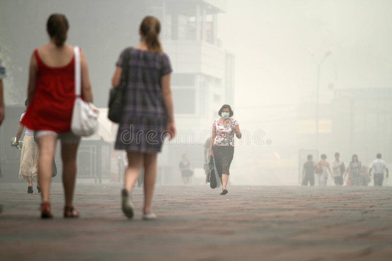 Smog in Moscow and Moscow region. royalty free stock photos