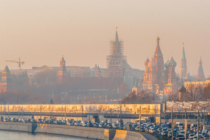 Smog in Moscow, Russia. Thursday, Nov. 20, 2014. Weather: Sun, s royalty free stock photo