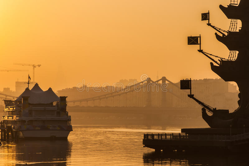 Smog in Moscow, Russia. Thursday, Nov. 20, 2014. Weather: Sun, s royalty free stock photography