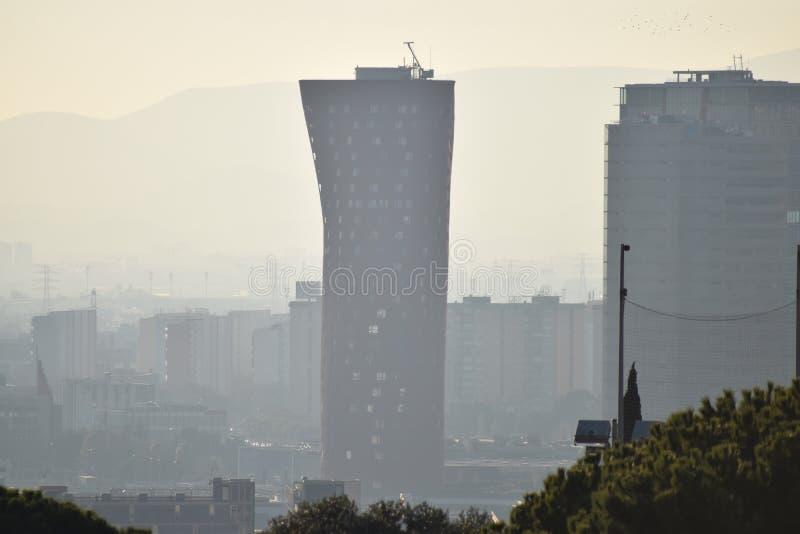 Smog over Barcelona royalty free stock photography