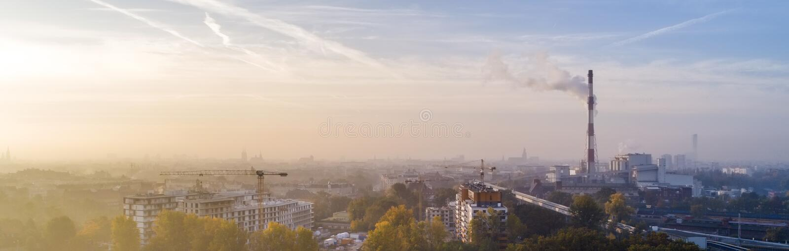 Smog over the city of Wrocław, Poland. Winter view of the city skyline stock image