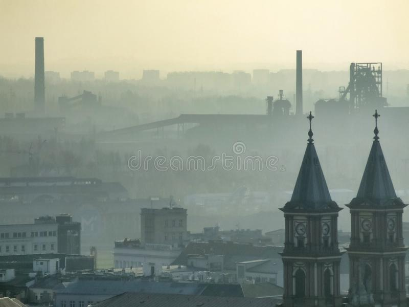 Smog over Ostrava in Czech. Air pollution in Ostrava. Photo taken during November sunny day from city hall tower. Mist related to high amount of pm10 and pm2,5 stock photo