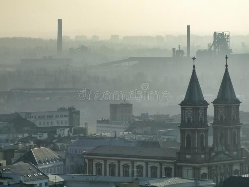 Smog over Ostrava in Czech. Air pollution in Ostrava. Photo taken during November sunny day from city hall tower. Mist related to high amount of pm10 and pm2,5 stock image