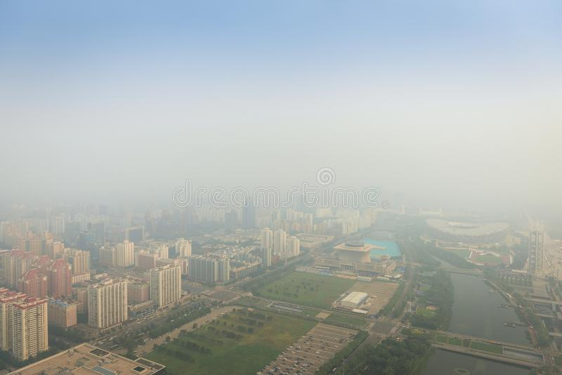 Smog pesante a Pechino fotografia stock libera da diritti