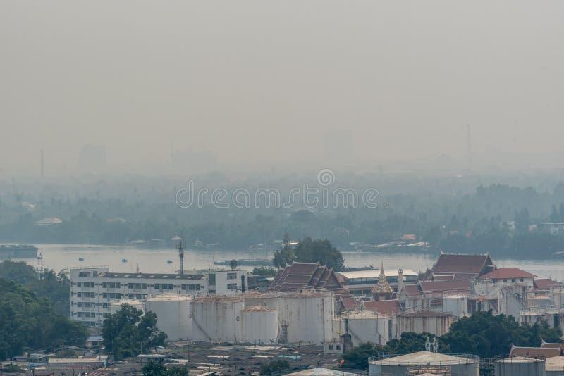 Smog PM2 damm 5 att överskrida standart värde av Bangkok arkivfoto